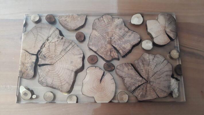 Dessous de table en résine et bois